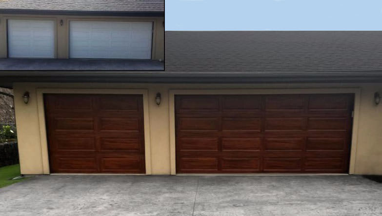 Before and after hand-painted faux wood grain on white vinyl garage doors to match the home's existing Ohia wood elements.