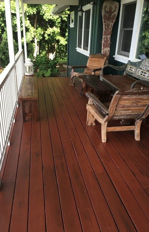 Weathered looking paint finishes by Thompson Art Studios are applied to withstand the elements while accentuating plantation architecture from old-time Hawaii.