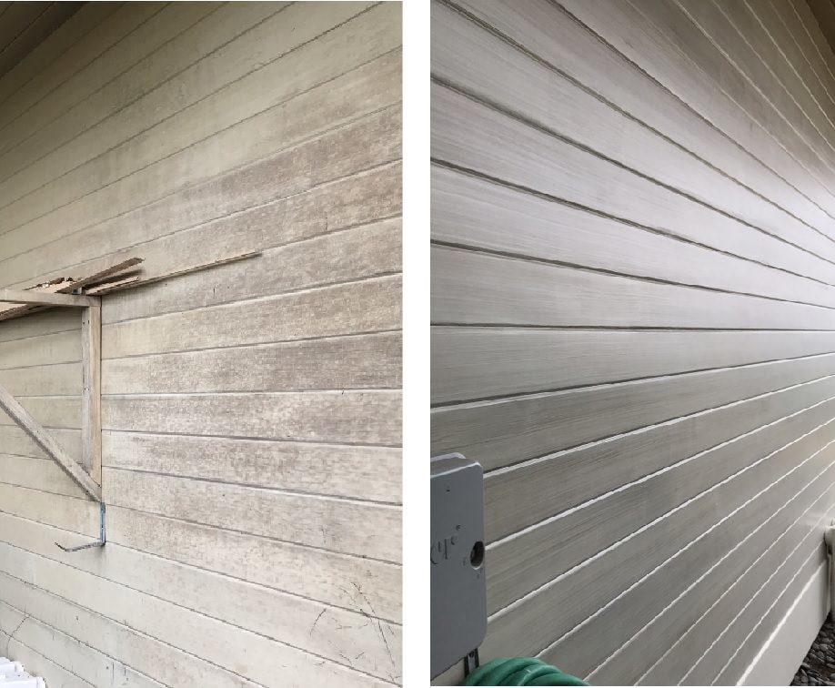 Thompson Art Studios' rehabilitated the worn wood plank siding on this Mauna Kea Fairways residence with a pickled paint treatment.